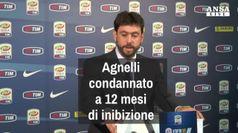 Agnelli condannato a 12 mesi di inibizione