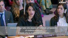 Amal Clooney all'Onu: c'e' un'epidemia di violenza sessuale