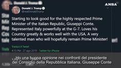 Trump su Twitter, speriamo che Conte resti premier