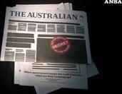 Protesta choc in Australia, censurata la prima pagina dei quotidiani