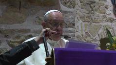 Papa Francesco in visita al santuario francescano di Greccio