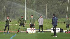 Il Napoli si allena in vista della partita contro il Barcellona