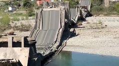 Ponte crollato, la Polizia sul luogo del disastro