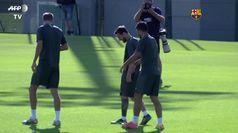 L'allenamento del Barcellona in vista del Napoli