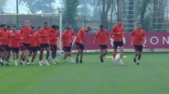 La Roma si allena in vista della sfida con il Cluj