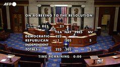 Usa, la Camera approva la risoluzione per chiedere il 25  emendamento contro Trump