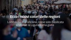 Ecco i nuovi colori delle regioni. Lombardia in arancione, rosse solo Basilicata e Molise. la Liguria torna gialla